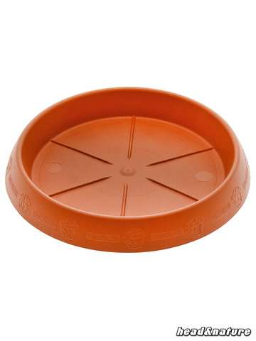 Circular Plant Saucer, terracotta with decorated rim, 15 cm Ø