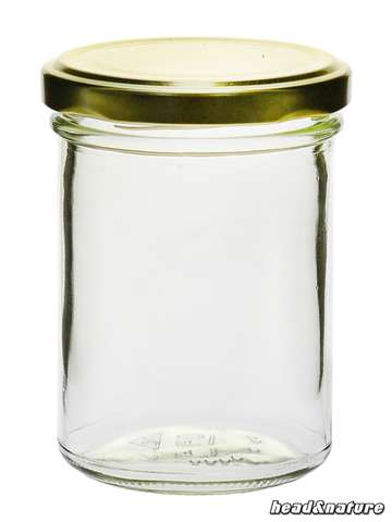 Jar 219 ml, round - with screw cap, gold