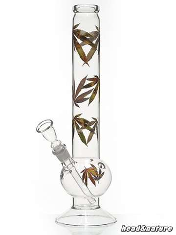 Glass bong hemp leaves Multi Leaf 35cm