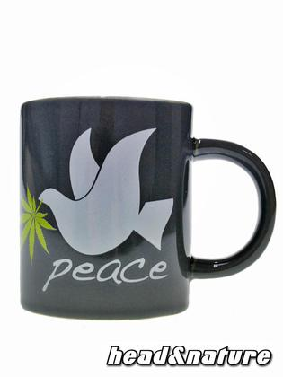 Cup peace dove with hemp leaf