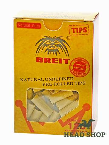 Breit prerolled unbleached filter tips