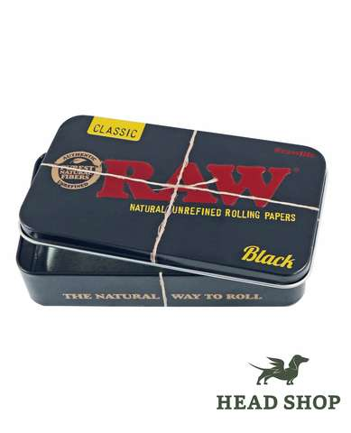 RAW Metal Tin Box Black